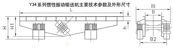 慣性振動輸送機外形尺寸和技術參數
